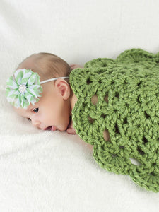 Spring green flower doily newborn baby girl bump blanket