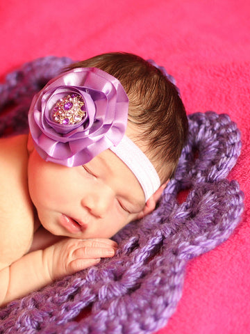 Purple flower doily newborn baby girl bump blanket by Two Seaside Babes