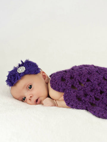 Dark purple flower doily newborn baby girl bump blanket by Two Seaside Babes