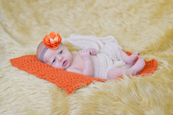 Orange Pumpkin | newborn photo prop layering baby blanket, basket stuffer, bucket filler