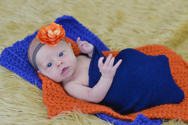 Orange Pumpkin & Cobalt Blue | newborn photo prop layering baby blanket, basket stuffer, bucket filler