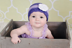 6 to 9 Month Purple, Grape, Lavender, & White Striped Flapper Beanie