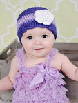 6 to 9 Month Purple, Grape, Lavender, & White Striped Flapper Beanie by Two Seaside Babes