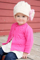 1T to 2T Cream & Pink Blossom | chunky crochet flower beanie, thick winter hat | baby, toddler, girl's, women's sizes