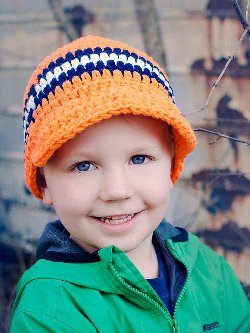 4T to Preteen Orange, Navy Blue, & White Striped Visor Beanie by Two Seaside Babes
