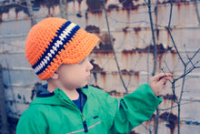 4T to Preteen Orange, Navy Blue, & White Striped Visor Beanie