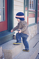 2T to 4T Navy Blue, Tangerine, & White Striped Visor Beanie