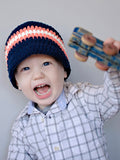 2T to 4T Navy Blue, Tangerine, & White Striped Visor Beanie by Two Seaside Babes