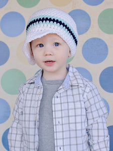 2T to 4T White, Aqua Blue, & Navy Blue Striped Visor Beanie by Two Seaside Babes