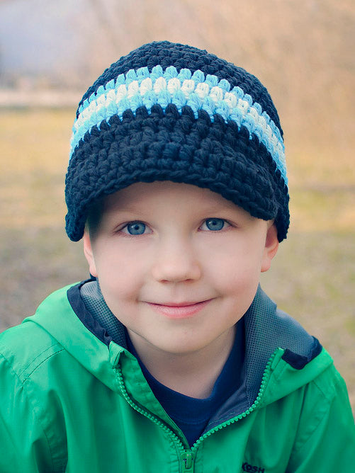 4T to Preteen Navy Blue, Bright Blue, & Aqua Blue Striped Visor Beanie by Two Seaside Babes