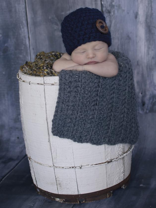 Medium gray newborn baby layering bump blanket by Two Seaside Babes