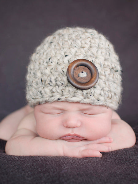 Oatmeal button beanie baby hat by Two Seaside Babes