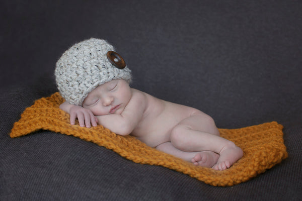 Oatmeal button beanie baby hat