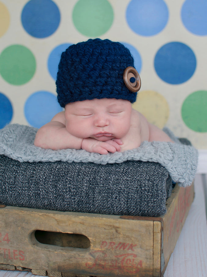 Navy blue button beanie baby hat by Two Seaside Babes