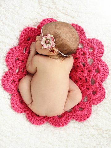 Hot pink flower doily newborn baby girl bump blanket by Two Seaside Babes