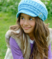 4T to Preteen Bright Blue Buckle Newsboy Cap