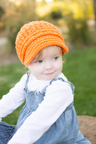 1T to 2T Orange Buckle Newsboy Cap