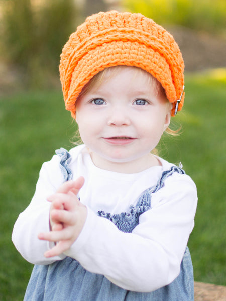 1T to 2T Orange Buckle Newsboy Cap by Two Seaside Babes