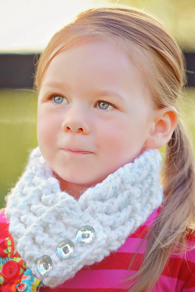 4T to Preteen Kids White Sparkle Button Scarf
