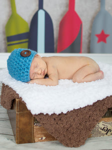 Cornflower blue button beanie baby hat by Two Seaside Babes