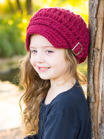 4T to Preteen Red Wine Buckle Newsboy Cap