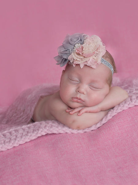 Pink Blossom | newborn photo prop layering baby blanket, basket stuffer, bucket filler
