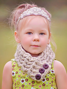 4T to Preteen Kids Oatmeal Button Scarf by Two Seaside Babes