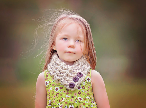 4T to Preteen Kids Oatmeal Button Scarf