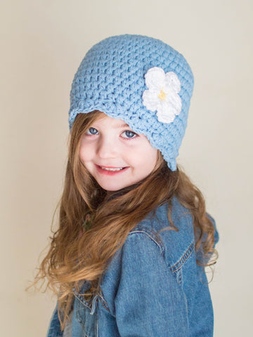 Light blue flapper beanie hat | 32 flower colors available by Two Seaside Babes