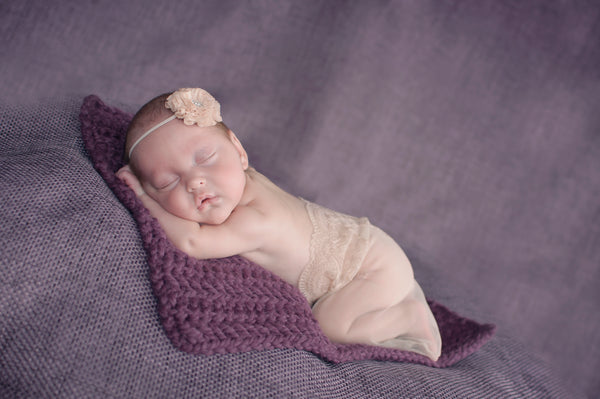 Purple Plum | newborn photo prop layering baby blanket, basket stuffer, bucket filler