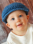 6 to 9 Month Denim Blue | Irish wool Donegal newsboy hat, flat cap, golf hat | newborn, baby, toddler, boy, & men's sizes by Two Seaside Babes