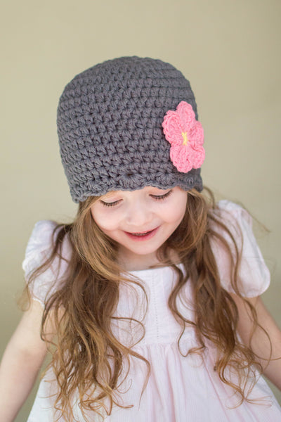 Elephant gray flapper beanie hat | 32 flower colors available