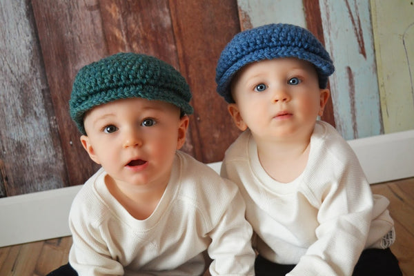 6 to 9 Month Heather Green & Denim Blue | Irish wool Donegal newsboy hat, flat cap, golf hat | newborn, baby, toddler, boy, & men's sizes