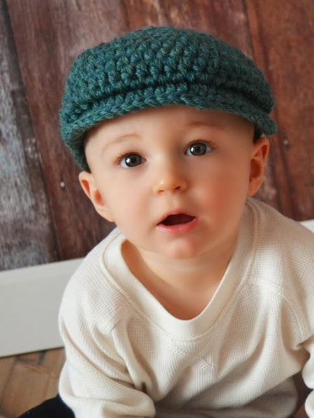 6 to 9 Month Heather Green | Irish wool Donegal newsboy hat, flat cap, golf hat | newborn, baby, toddler, boy, & men's sizes by Two Seaside Babes