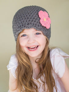 Elephant gray flapper beanie hat | 32 flower colors available by Two Seaside Babes