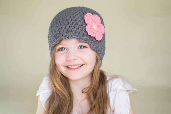 Elephant gray flapper beanie hat | 34 flower colors available