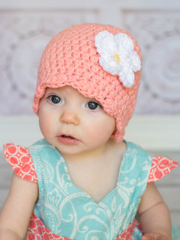 Peach flapper beanie hat | 34 flower colors available