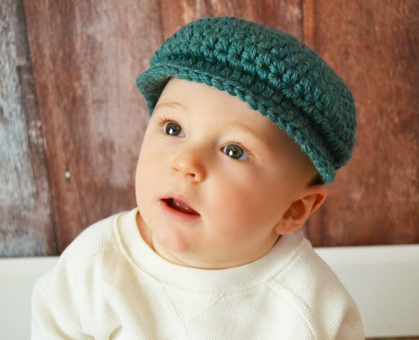 6 to 9 Month Heather Green | Irish wool Donegal newsboy hat, flat cap, golf hat | newborn, baby, toddler, boy, & men's sizes