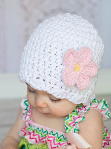 White sparkle flapper beanie hat | 34 flower colors available
