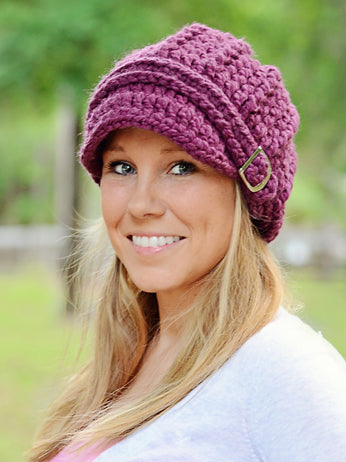 Adult Purple Plum Buckle Beanie by Two Seaside Babes
