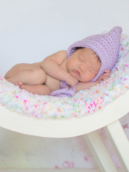 Lavender Pixie Elf Baby Hat by Two Seaside Babes