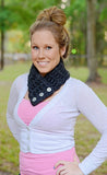 Adult Charcoal Gray Button Scarf