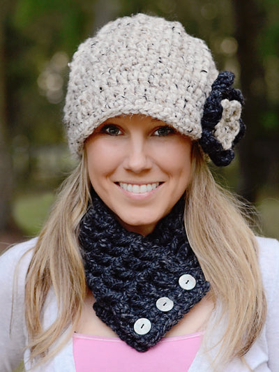 Adult Charcoal Gray Button Scarf by Two Seaside Babes
