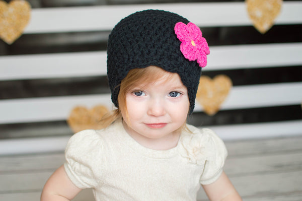 Black flapper beanie hat | 34 flower colors available