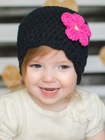 Black flapper beanie hat | 32 flower colors available by Two Seaside Babes