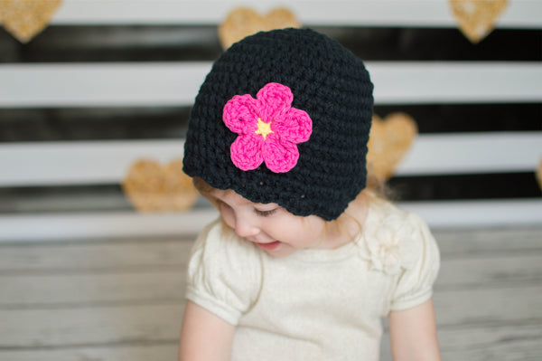 Black flapper beanie hat | 32 flower colors available