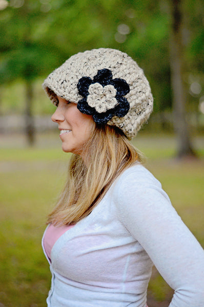 Women's Oatmeal & Charcoal Gray | chunky crochet flower beanie, thick winter hat | baby, toddler, girl's, women's sizes