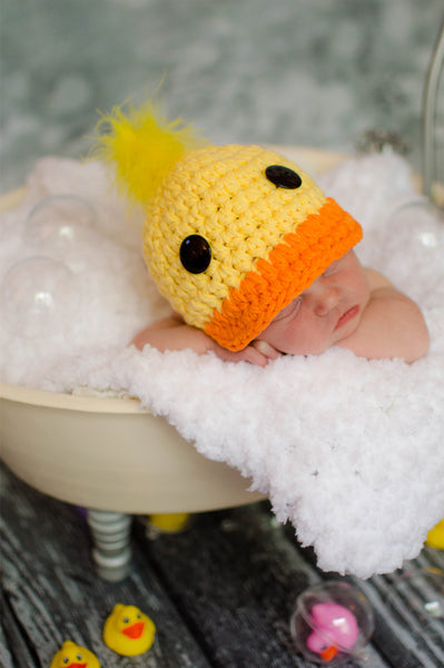 Yellow & orange rubber ducky baby hat