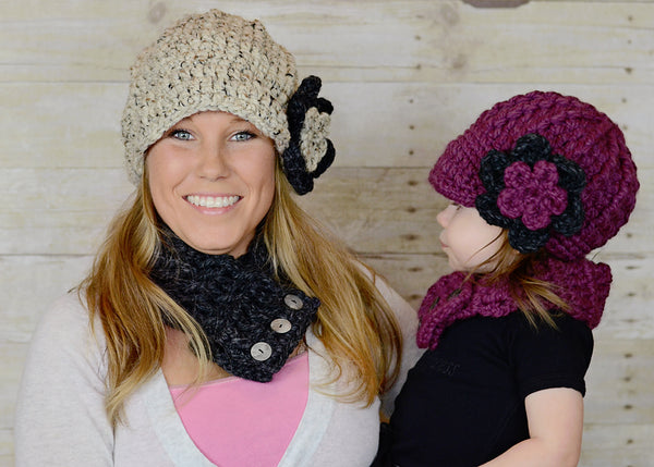 Custom flower beanie | chunky crochet thick winter hat | baby, toddler, girl's, women's sizes | Oatmeal & Charcoal Gray with Purple Plum & Charcoal Gray