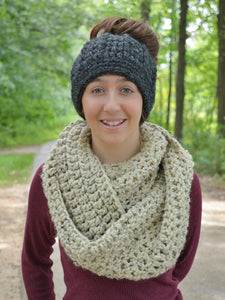 Oatmeal infinity cowl winter scarf by Two Seaside Babes